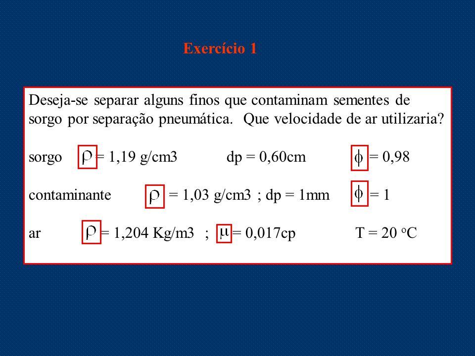Exercício 1 Deseja-se separar alguns finos que contaminam sementes de sorgo por separação pneumática. Que velocidade de ar utilizaria