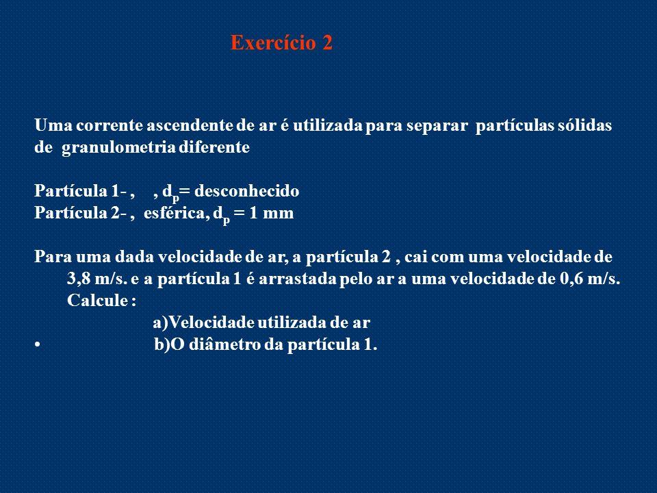 Exercício 2 Uma corrente ascendente de ar é utilizada para separar partículas sólidas. de granulometria diferente.