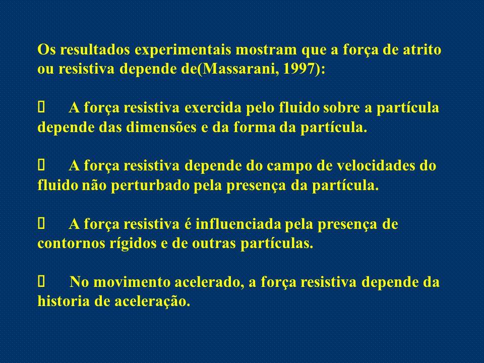 Os resultados experimentais mostram que a força de atrito ou resistiva depende de(Massarani, 1997):