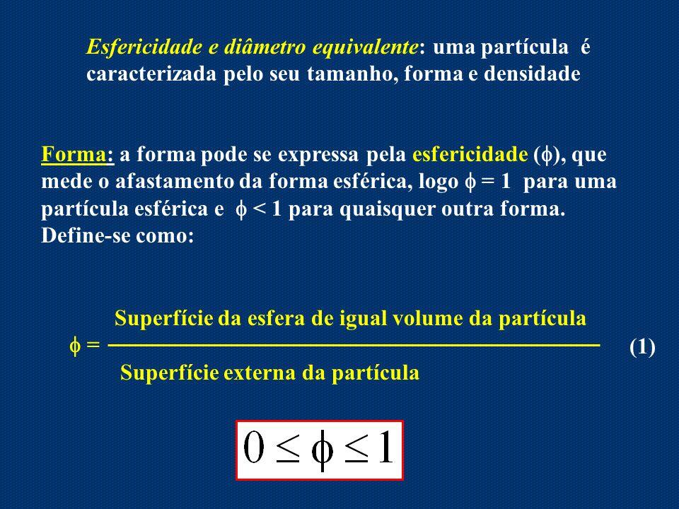 Esfericidade e diâmetro equivalente: uma partícula é caracterizada pelo seu tamanho, forma e densidade