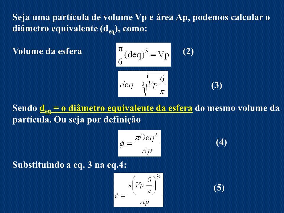 Seja uma partícula de volume Vp e área Ap, podemos calcular o diâmetro equivalente (deq), como: