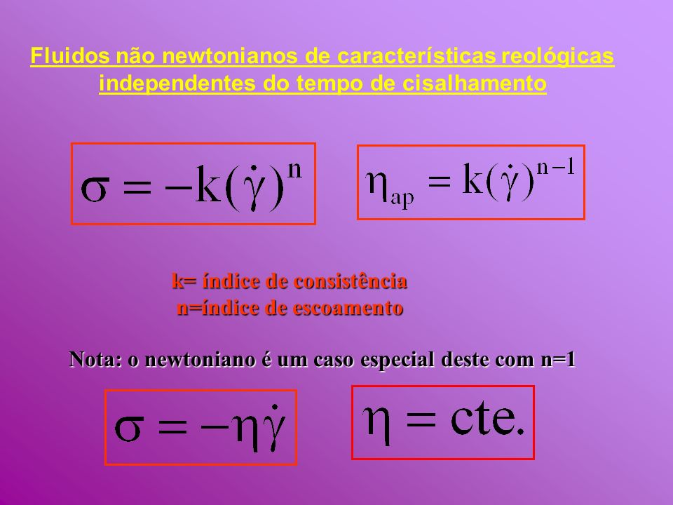 k= índice de consistência n=índice de escoamento