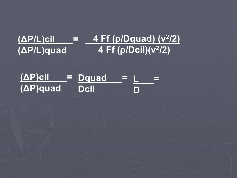 (ΔP/L)cil = (ΔP/L)quad. 4 Ff (ρ/Dquad) (v2/2) 4 Ff (ρ/Dcil)(v2/2) (ΔP)cil = (ΔP)quad.