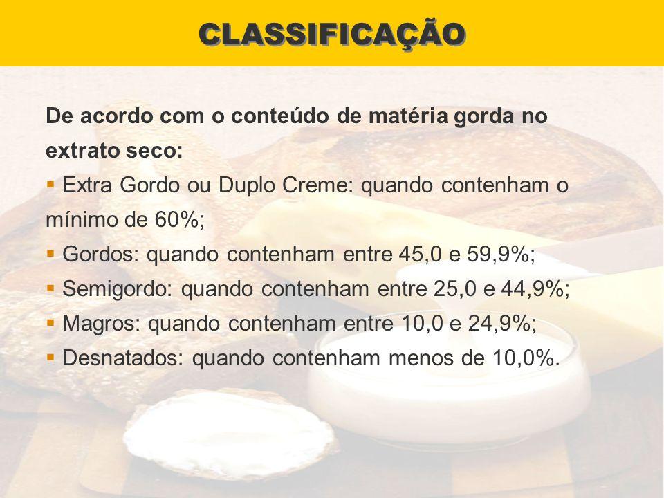 CLASSIFICAÇÃO De acordo com o conteúdo de matéria gorda no extrato seco: Extra Gordo ou Duplo Creme: quando contenham o mínimo de 60%;