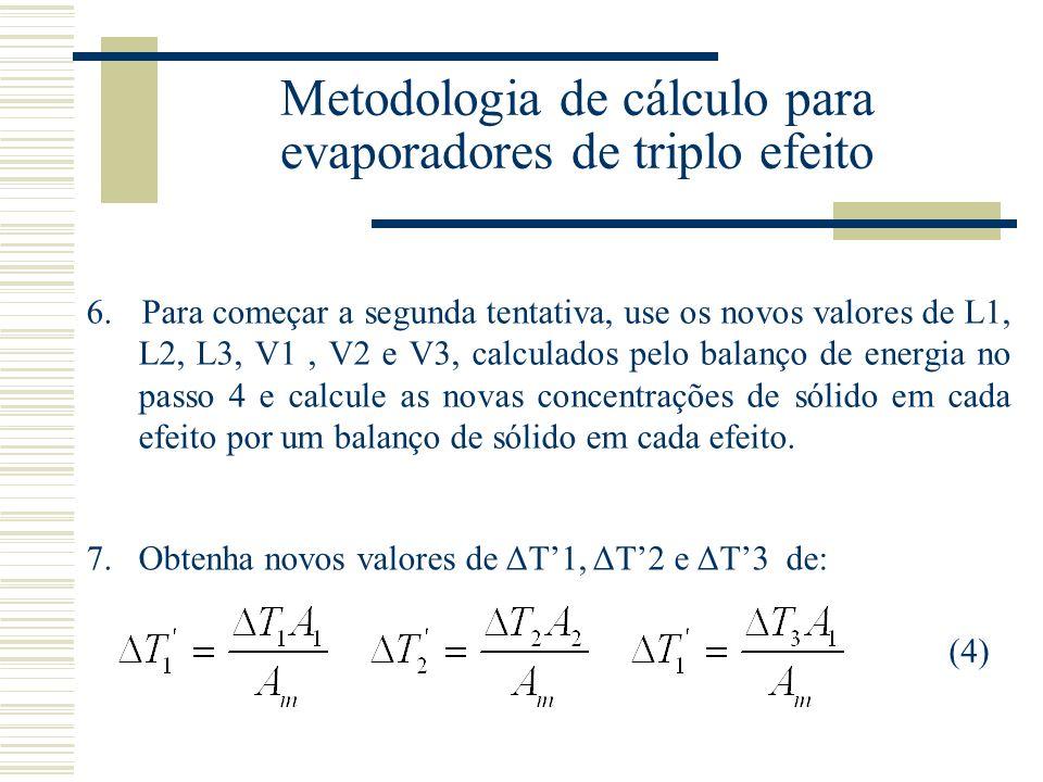 Metodologia de cálculo para evaporadores de triplo efeito