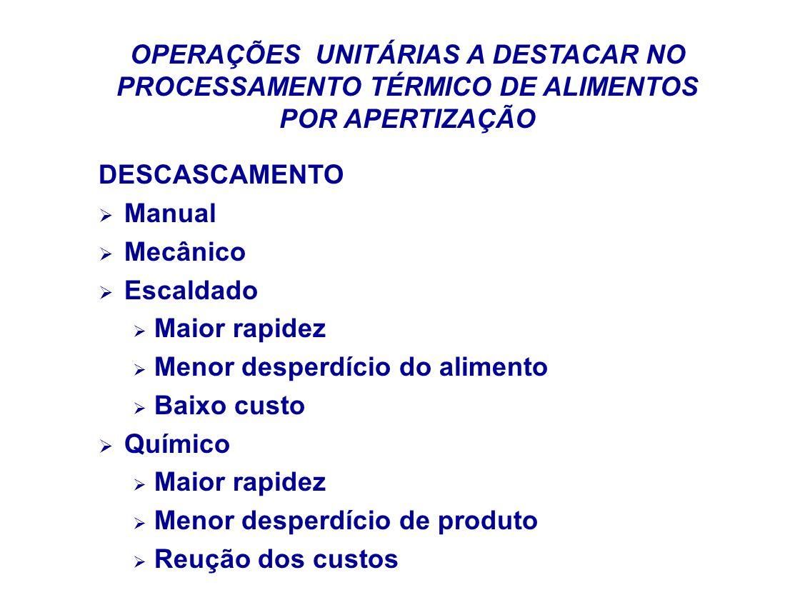 OPERAÇÕES UNITÁRIAS A DESTACAR NO PROCESSAMENTO TÉRMICO DE ALIMENTOS POR APERTIZAÇÃO