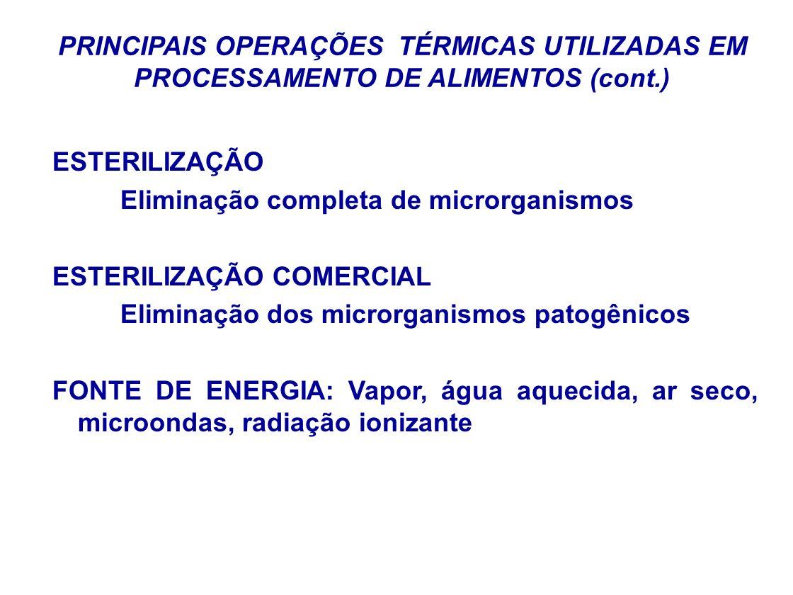 PRINCIPAIS OPERAÇÕES TÉRMICAS UTILIZADAS EM PROCESSAMENTO DE ALIMENTOS (cont.)