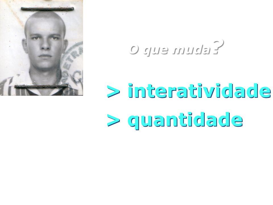 O que muda > interatividade > quantidade