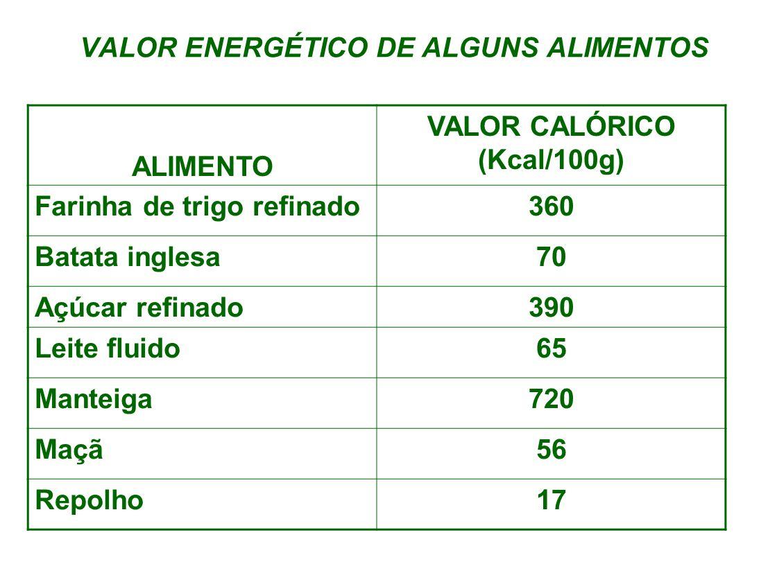 VALOR ENERGÉTICO DE ALGUNS ALIMENTOS