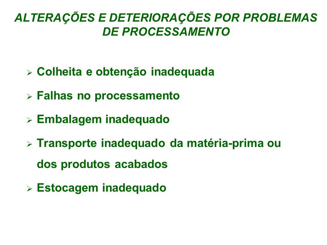 ALTERAÇÕES E DETERIORAÇÕES POR PROBLEMAS DE PROCESSAMENTO