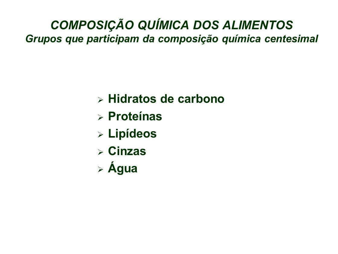 COMPOSIÇÃO QUÍMICA DOS ALIMENTOS Grupos que participam da composição química centesimal
