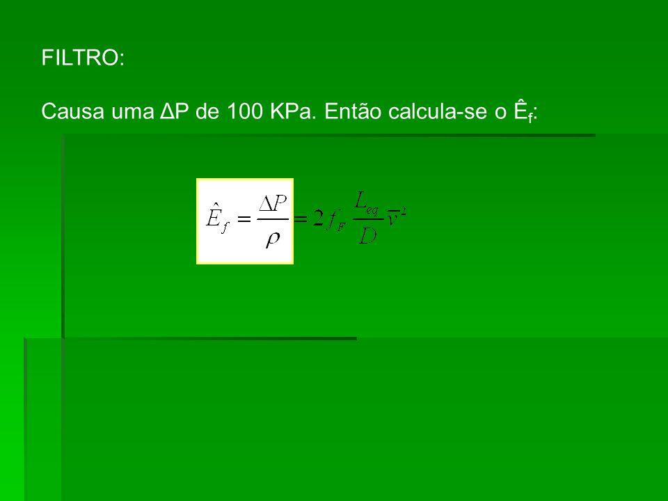 FILTRO: Causa uma ΔP de 100 KPa. Então calcula-se o Êf: