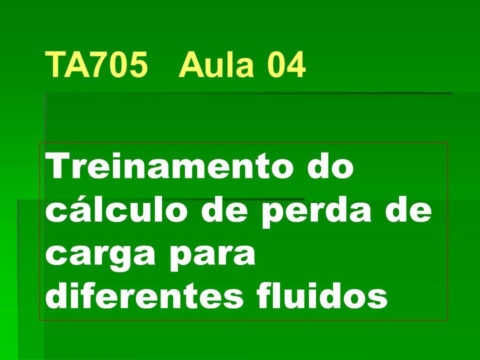 Treinamento do cálculo de perda de carga para diferentes fluidos