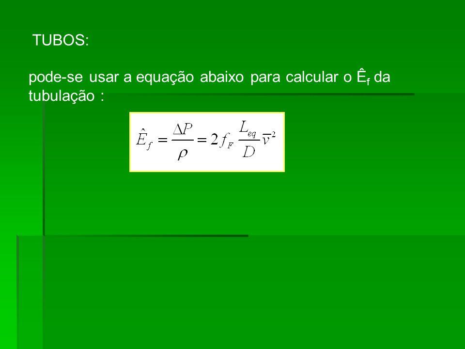 TUBOS: pode-se usar a equação abaixo para calcular o Êf da tubulação :