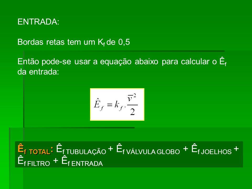 ENTRADA: Bordas retas tem um Kf de 0,5. Então pode-se usar a equação abaixo para calcular o Êf da entrada: