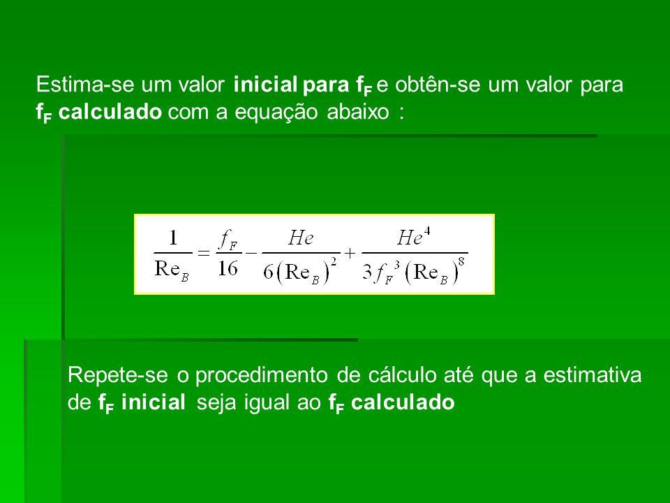 Estima-se um valor inicial para fF e obtên-se um valor para fF calculado com a equação abaixo :