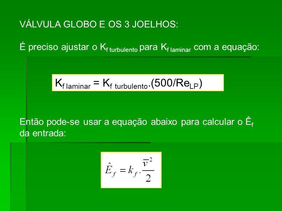 Kf laminar = Kf turbulento.(500/ReLP)