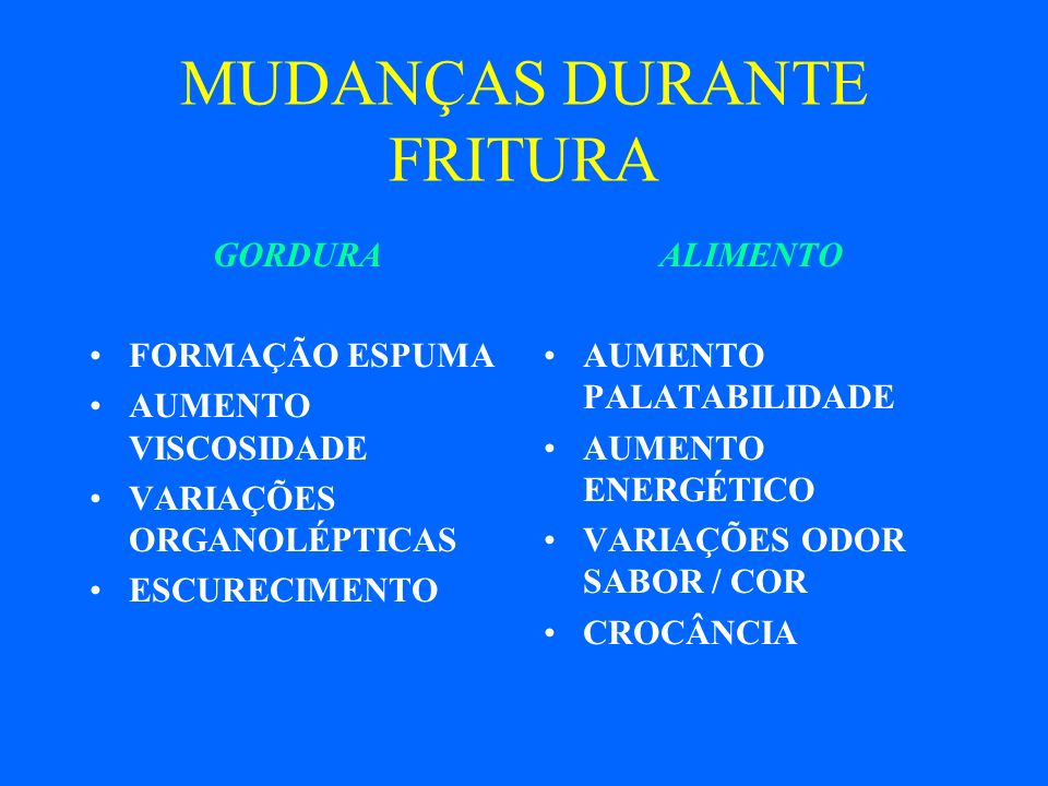 MUDANÇAS DURANTE FRITURA