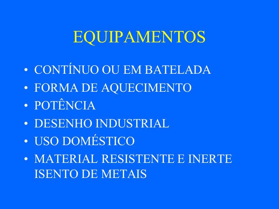 EQUIPAMENTOS CONTÍNUO OU EM BATELADA FORMA DE AQUECIMENTO POTÊNCIA
