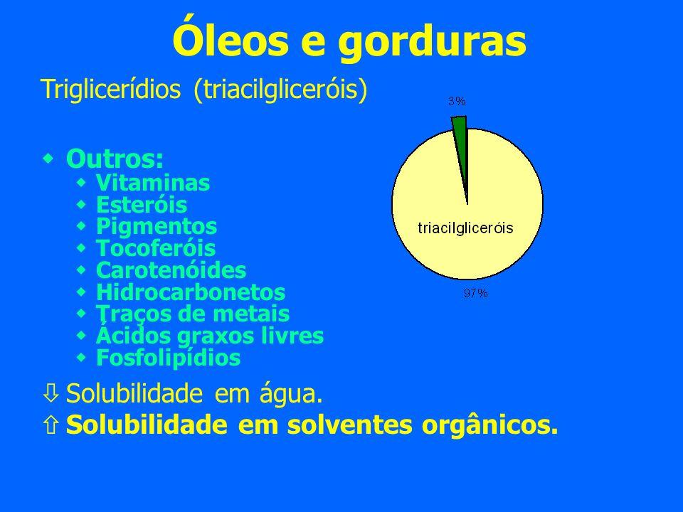 Óleos e gorduras Triglicerídios (triacilgliceróis) Outros: