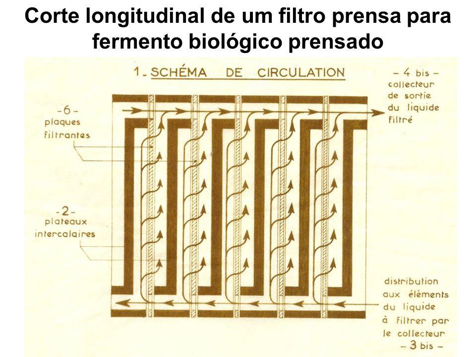 Corte longitudinal de um filtro prensa para fermento biológico prensado