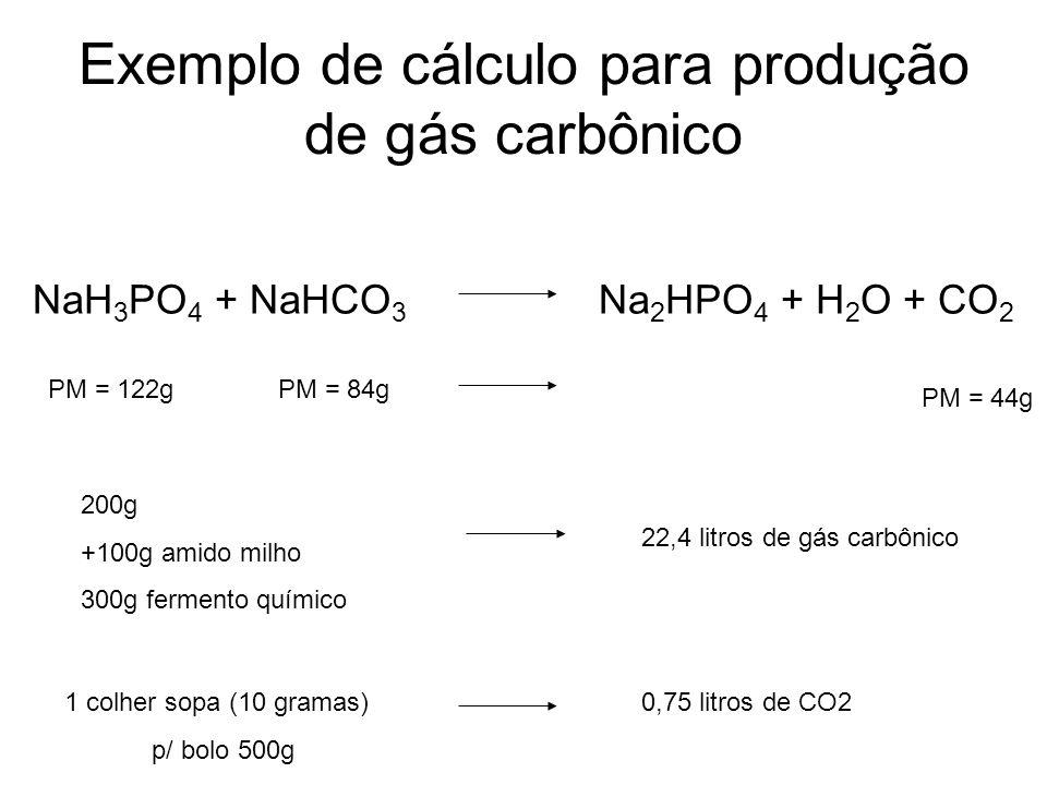 Exemplo de cálculo para produção de gás carbônico