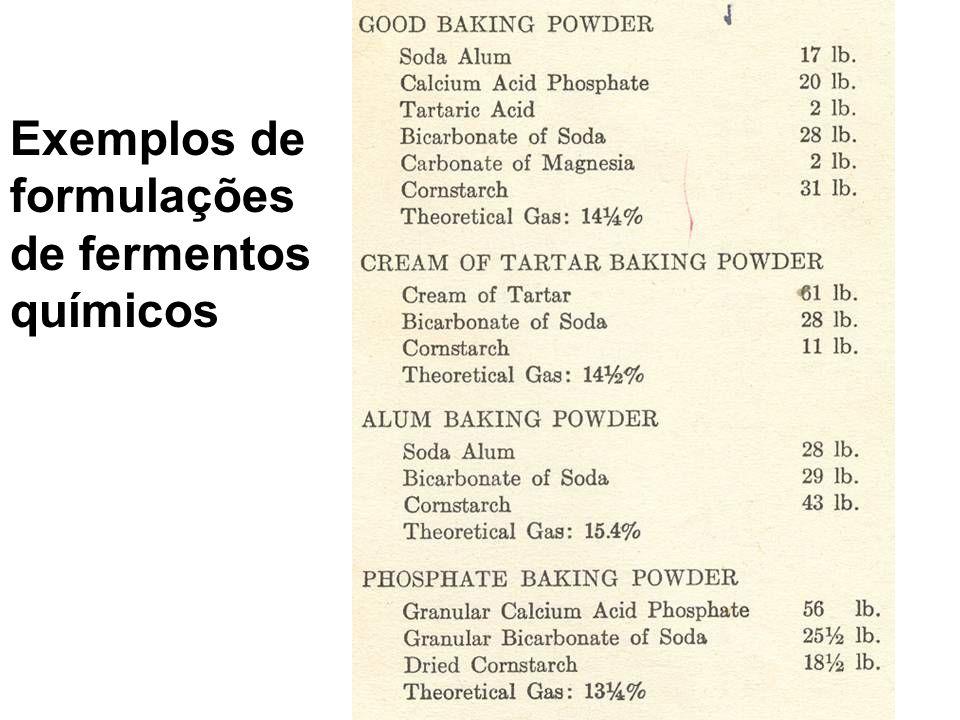 Exemplos de formulações de fermentos químicos