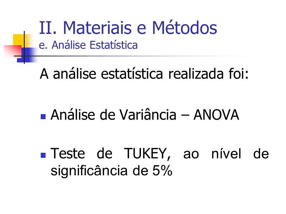 II. Materiais e Métodos e. Análise Estatística