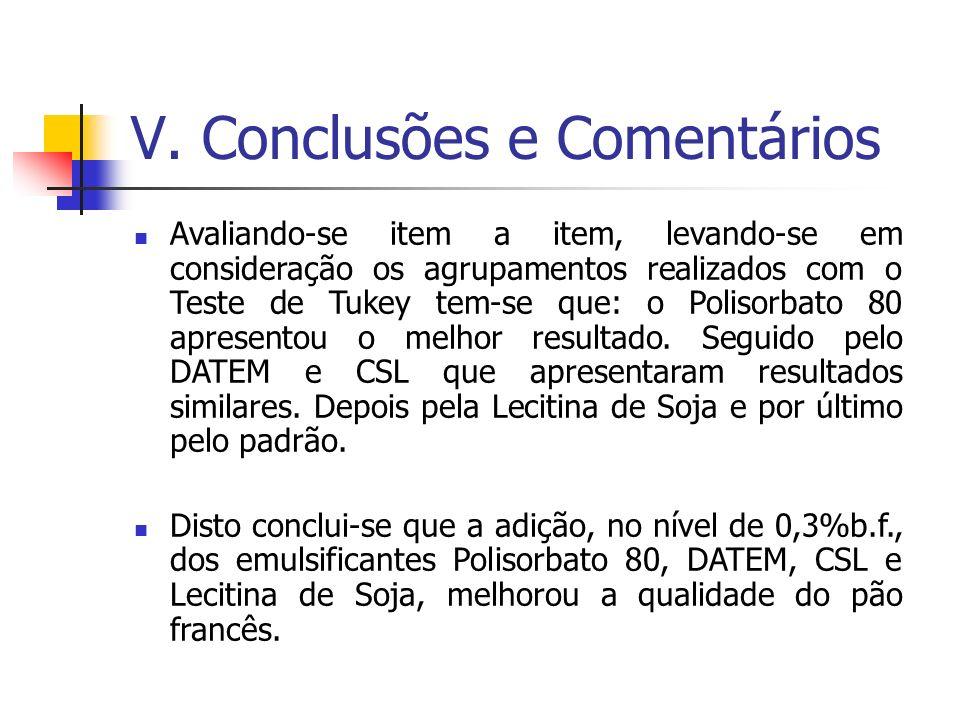 V. Conclusões e Comentários