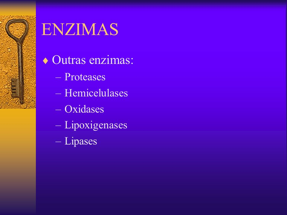 ENZIMAS Outras enzimas: Proteases Hemicelulases Oxidases Lipoxigenases