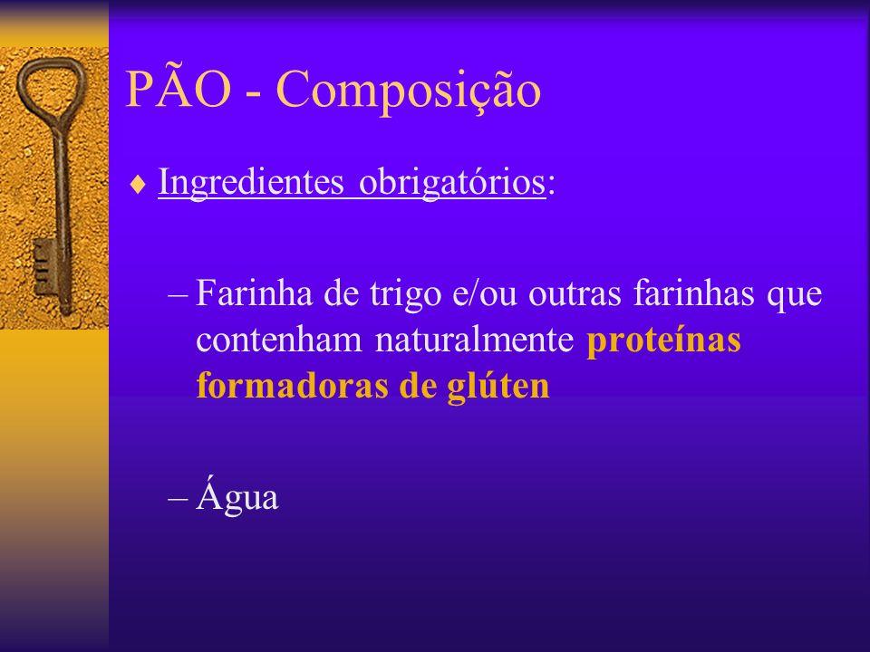 PÃO - Composição Ingredientes obrigatórios: