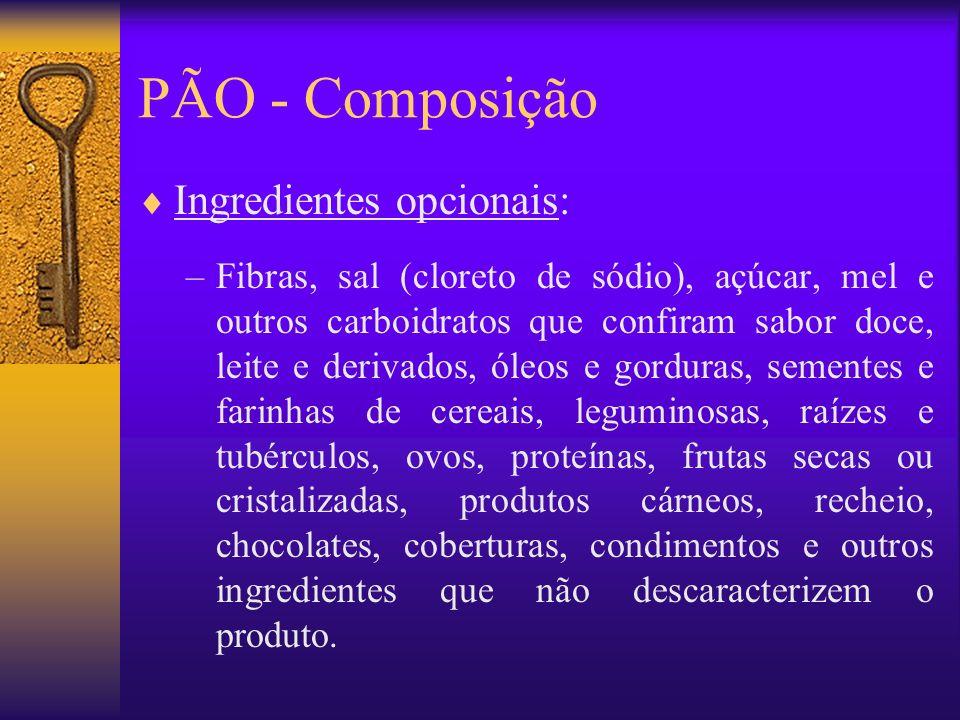 PÃO - Composição Ingredientes opcionais: