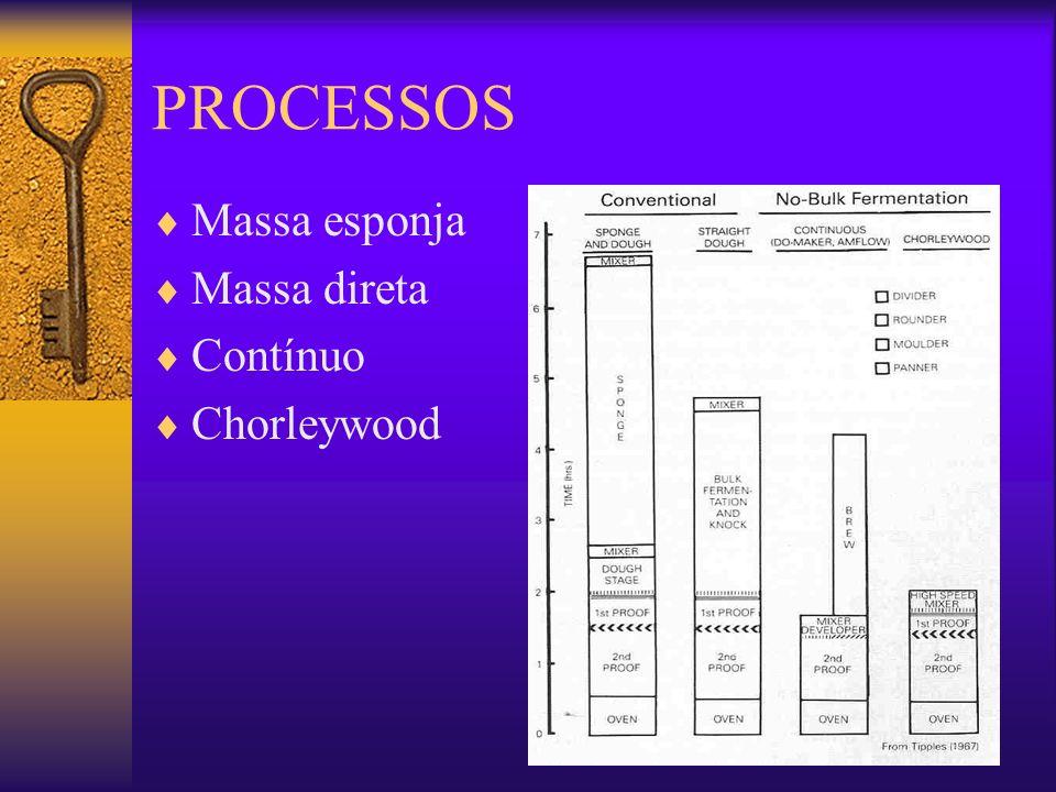 PROCESSOS Massa esponja Massa direta Contínuo Chorleywood