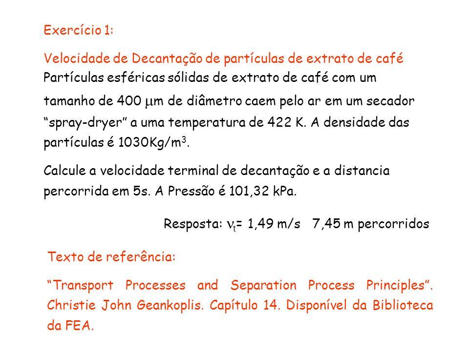 Exercício 1: Velocidade de Decantação de partículas de extrato de café.