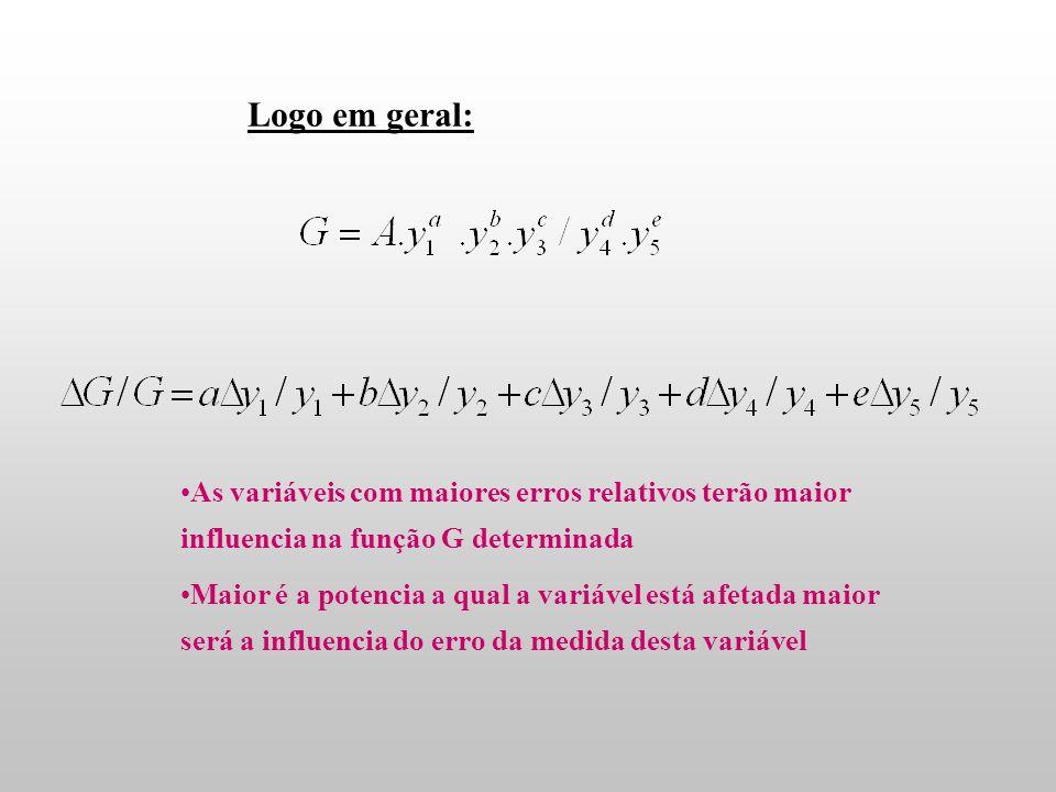 Logo em geral: As variáveis com maiores erros relativos terão maior influencia na função G determinada.
