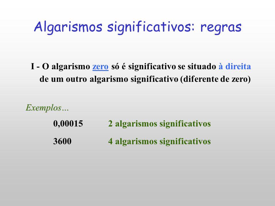 Algarismos significativos: regras