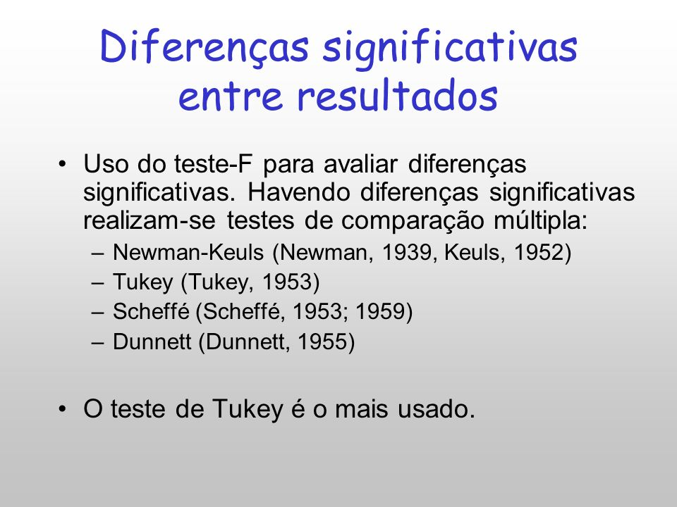 Diferenças significativas entre resultados