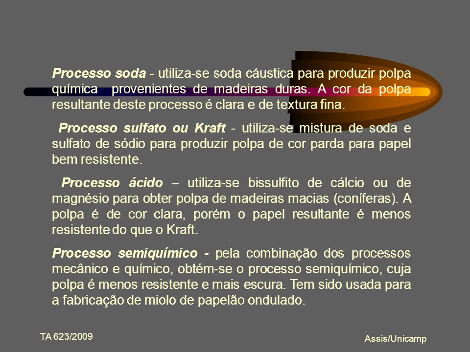 Processo soda - utiliza-se soda cáustica para produzir polpa química provenientes de madeiras duras. A cor da polpa resultante deste processo é clara e de textura fina.