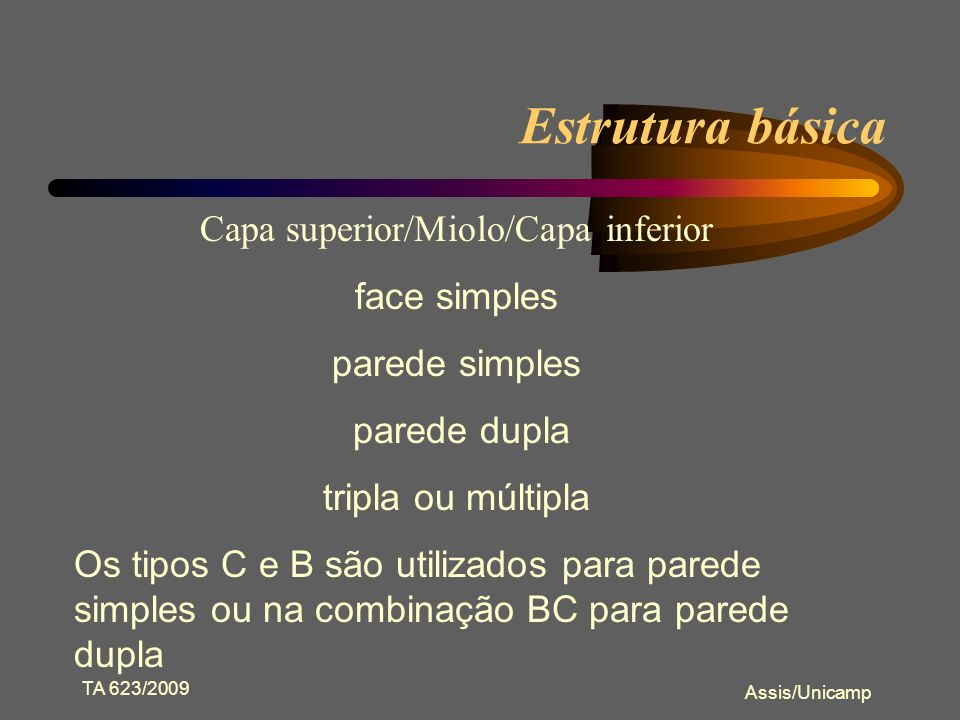 Capa superior/Miolo/Capa inferior