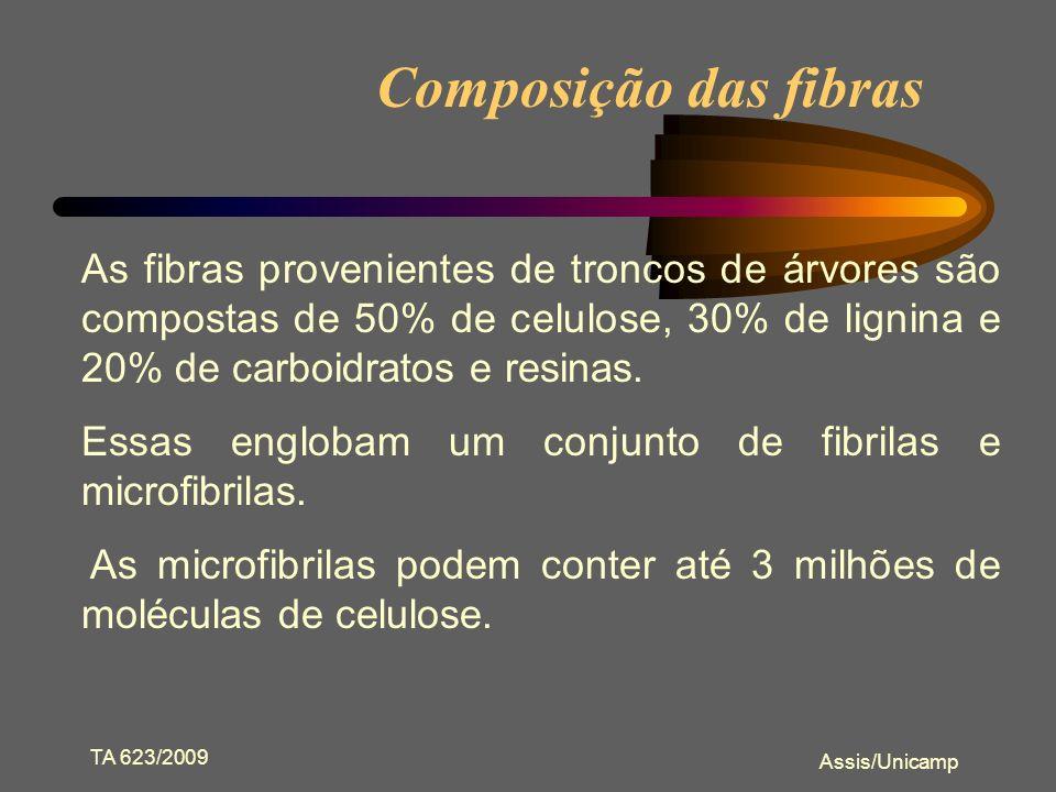 Composição das fibras As fibras provenientes de troncos de árvores são compostas de 50% de celulose, 30% de lignina e 20% de carboidratos e resinas.