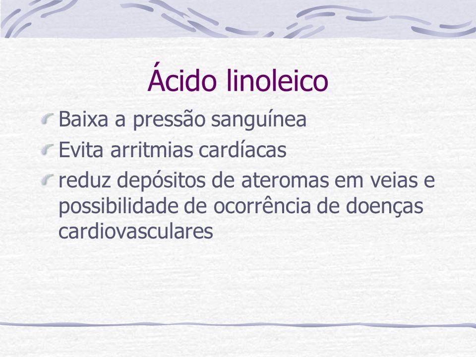 Ácido linoleico Baixa a pressão sanguínea Evita arritmias cardíacas