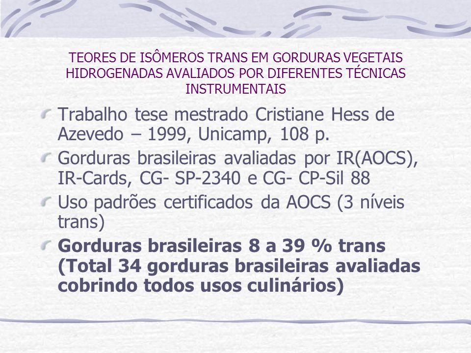 Uso padrões certificados da AOCS (3 níveis trans)
