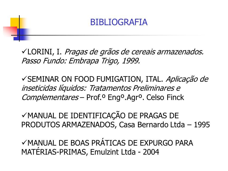 BIBLIOGRAFIA LORINI, I. Pragas de grãos de cereais armazenados. Passo Fundo: Embrapa Trigo, 1999.