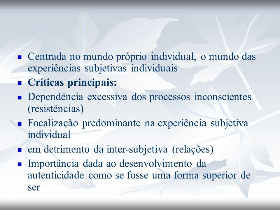 Centrada no mundo próprio individual, o mundo das experiências subjetivas individuais