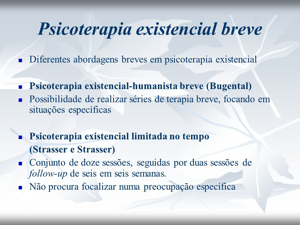 Psicoterapia existencial breve