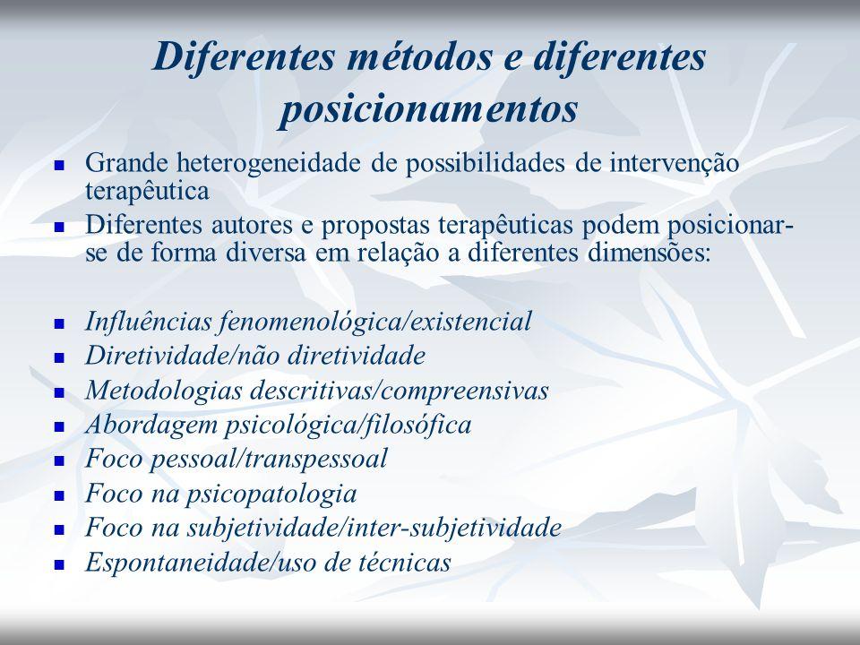 Diferentes métodos e diferentes posicionamentos