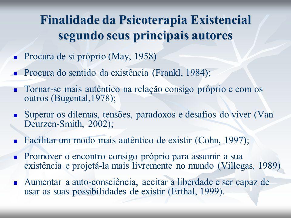 Finalidade da Psicoterapia Existencial segundo seus principais autores