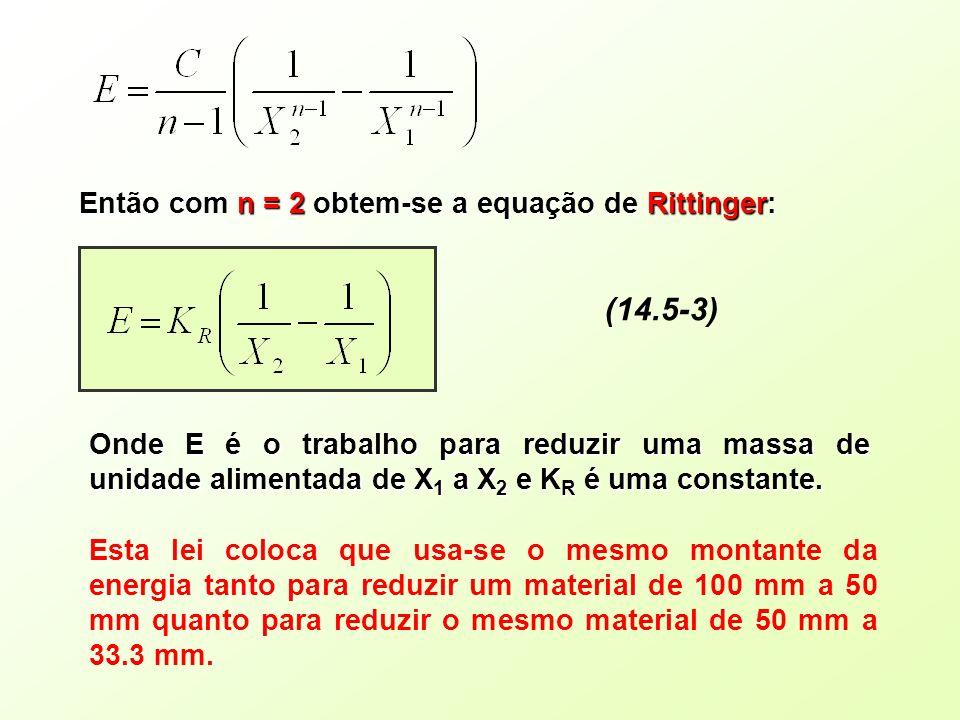 (14.5-3) Então com n = 2 obtem-se a equação de Rittinger: