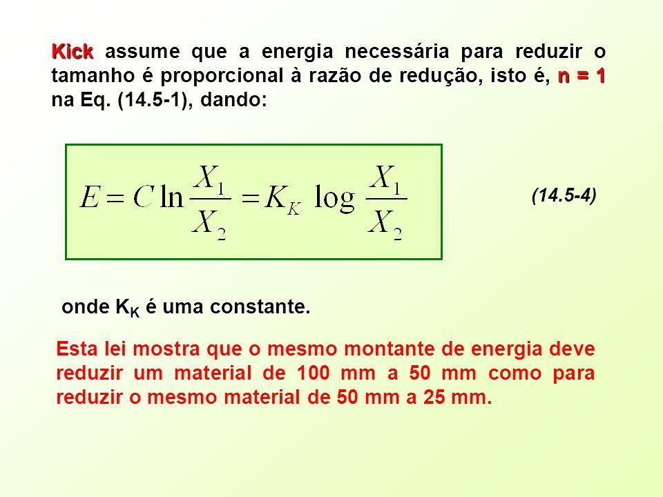 Kick assume que a energia necessária para reduzir o tamanho é proporcional à razão de redução, isto é, n = 1 na Eq. (14.5-1), dando: