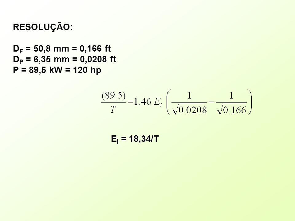 RESOLUÇÃO: DF = 50,8 mm = 0,166 ft DP = 6,35 mm = 0,0208 ft P = 89,5 kW = 120 hp Ei = 18,34/T